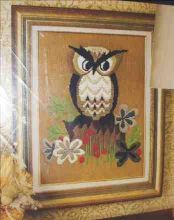 Vint avon owl needlepoint